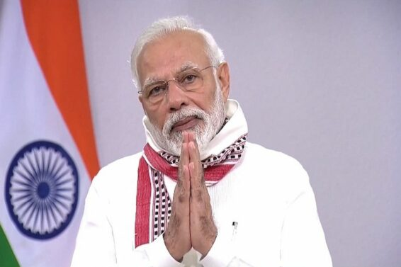 New Delhi: Prime Minister Narendra Modi addresses the nation on the issues related to COVID-19 and existing lockdown, in New Delhi on Apr 14, 2020. The PM on Tuesday commended people of the nation for celebrating festivals by staying at home during the lockdown period. In his address to the nation, Modi announced that based on the suggestions of the state governments and experts, the nationwide lockdown has been extended till May 3. Earlier, a 21-day lockdown was imposed in the country which was in effect till today. (Photo: IANS)