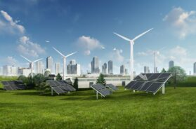 3d Rendering Illustration Of Solar Cell And Windmill
